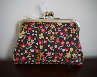 Floral Brown Clasp Kisslock Purse Make Up Bag Bronze Frame Clutch Evening Bag