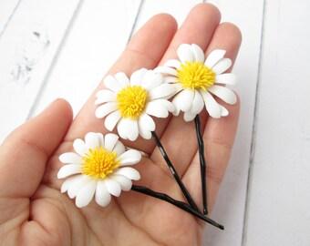 Set White Daisies Hair Pin Accessories - Daisy Flower Hair Clips - Camomile hair decoration - Floral Bobby Pin - Girls Hair Accessories