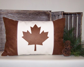 Canvas and Faux Leather Canada Flag Pillow Cover 13x20