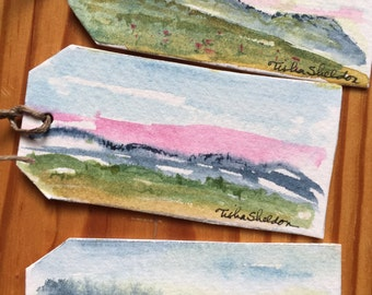 Original Miniature Landscape Watercolor Gift Tags. Set of 3