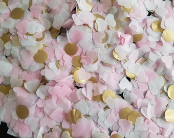 Pink ,White & Gold tissue paper heart and circle  handmade confetti /party and table confetti/Birthday/Wedding/etc..