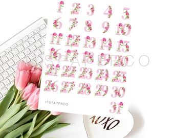 Pink Flowers Numbers (1-31) - Bullet Journal Stickers - Planner Stickers - FLN001