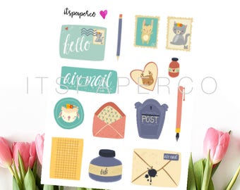 Postal Happy Mail Elements - Bullet Journal Stickers - Planner Stickers - Decorative Stickers - P004