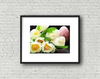 White and Pink Crocus Print ~ Spring Flowers ~ Watercolor ~ Happy Spring ~ Pin Crocus ~  White Crocus ~ Spring Bouquet