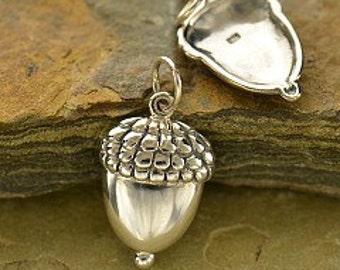 Acorn Pendant,  Acorn Charm, Sterling silver charm, supplies, large charm sale clearance