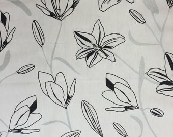 Cotton fabric, Fabric white silver black flowers, modern style, Scandinavian design