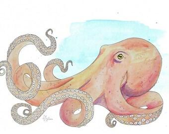 """Octopus 8x10"""" Matted Giclée Print"""