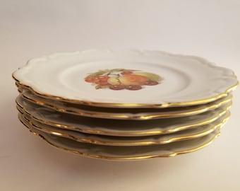 Royal Heidelberg Winterling Fruit and Nut Plates Trimmed in Gold - Set of 5