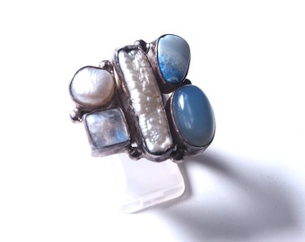 Moonstone and Pearl silver ring