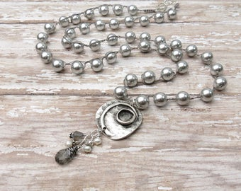 Braided Pearl Necklace | Gray Necklace | Boho Necklace | Braided Necklace | Grey Necklace | long necklace | pendant necklace
