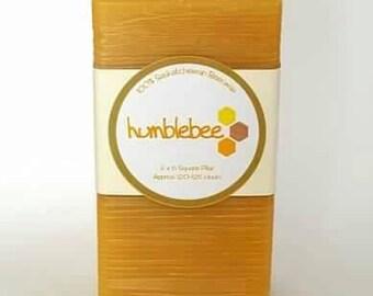 "3"" x 6"" 100% natural beeswax square pillar candle"