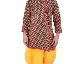 Indian Traditional Ethnic Men's Cotton Dhoti Kurta Suits Royal Fashion Sherwani Angrakha Dress