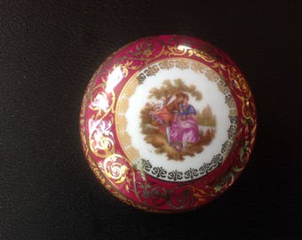 French limoges fragonard trinket pot.