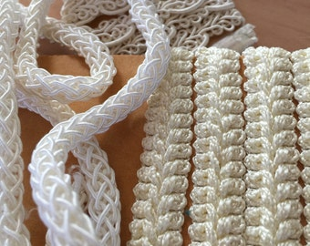 Assortment of White and Off White Fancy Cord and Trims