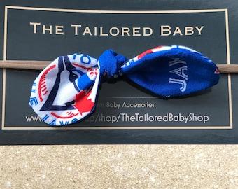 Blue Jays bow headband, baby thin headband, thin headband, baby headband