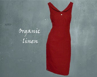 retro dress organic linen, party dress biological linen, organic linen design dress, GOTS certified linen dress, fair trade, fair fashion