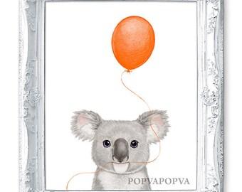 Koala Nursery Art Print, NURSERY ROOM Decor, Animal Nursery Artwork, Balloon Print, KOALA Art, Koala Print, Koala Wall Art Wall Decor Poster