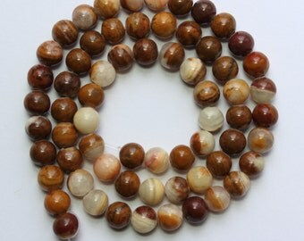 6mm Brown and Off White Jade Rounds 15 inch Strand 58 Beads 1mm Hole Size