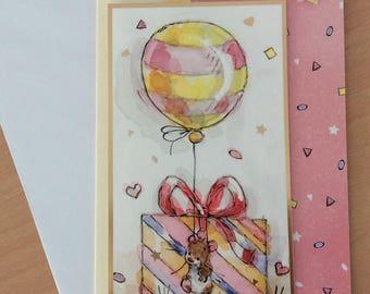 Handmade Birthday Card, handmade greetings card, mice, birthday present, birthday balloon