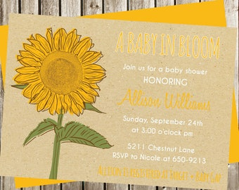 Sunflower Baby Shower Invitation, Digital Invitation, Sunflower Invitation,  Sunflower