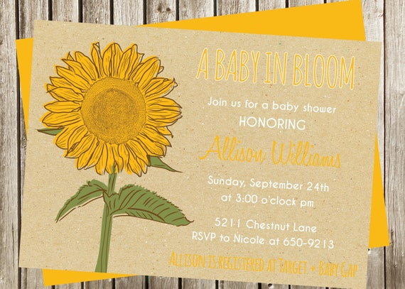 sunflower baby shower invitation digital invitation, Baby shower invitations