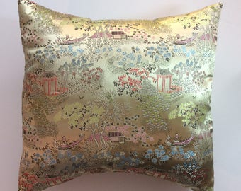 Yellow Asian Print Satin Pillow Cover, Designer Pillow