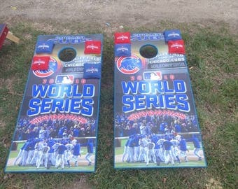 Custom wrapped cornhole set with bags tons of designs available