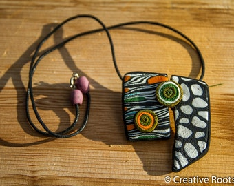 Polymer Clay Necklace, Fimo, Black, Mosaik, Orange, Green