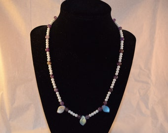 Glass Pearl and Amethyst Necklace