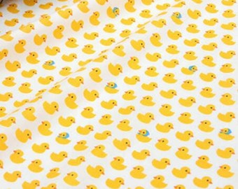 cute duck cotton fabric+laminated one/ 110cmx90cm 20's/by the yard/ yellow lover duck