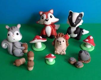Woodland animals edible handnmade cake topper set