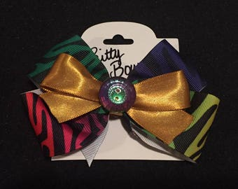 Gold&Rainbow Zebra Bow