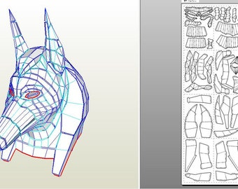 Create your own mask goddess Anubis.|Papercraft statue of Anubis.|Paper gods of Egypt.|Anubis.|