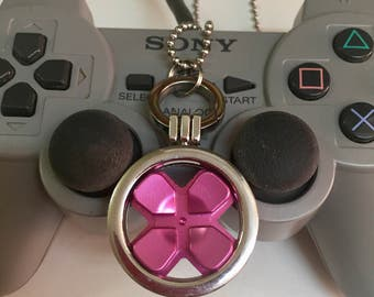 Gamer gift video game jewellery Playstation pendant necklace with genuine hot pink PS4 d-pad button , for retrogaming fans