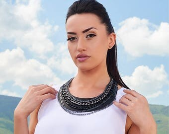 Leather  collar, Layered Necklace, Large Necklace, Statement necklace, Black  jewelry, Black Leather Bib Necklace, Gift for Her