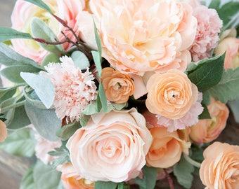 Peach Pink Blush Silk Wedding Bouquet, Pastel Bridal Bouquet, Peony Rose Bouquet, Pink Peach Blush Bridal Bouquet, Faux Bouquet