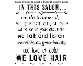 DIGITAL DOWNLOAD  - In this salon.. - salon rules - salon printable