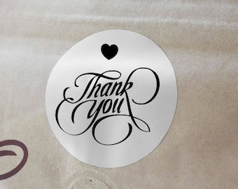 "Transparent or Silver Foil ""Thank You"" Ornate Labels Stickers Seals #R4003"