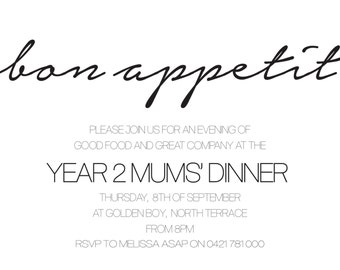 Bon Appetit Modern Invitation
