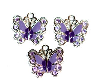 Butterfly Charms Purple with Purple Crystal and Silver Tone Trim Lavendar and Purple Rhinestones Butterflies Charm Bracelet Charms 3 Pieces