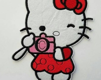 Red Hello Kitty iron on inspired patch, Hello Kitty embroidery patch inspired, Hello Kitty large patch inspired