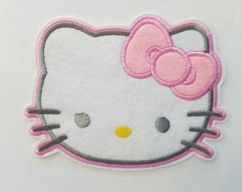 Pink Hello Kitty iron on inspired patch, Hello Kitty embroidery patch inspired, Hello Kitty large patch inspired