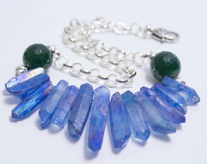 Blue crystal choker, Raw quartz crystal necklace, Quartz choker