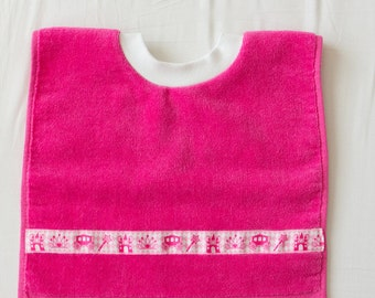 Personalized, Fairytale Princess  Baby or Toddler Towel Bib, Handmade Girl Baby Shower Gift, Pullover Full Coverage Bib, Toddler Art Smock
