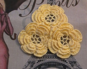 Solid Colors Crochet flowers Yellow-Lavender-Baby Pink-Peach- Seafoam
