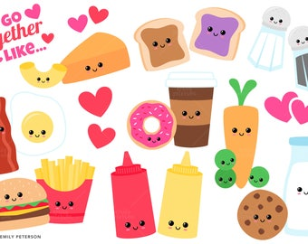 Perfect Pair, Valentine's Day, Food - Cute Clipart, Clip Art - Commercial Use, Instant Download