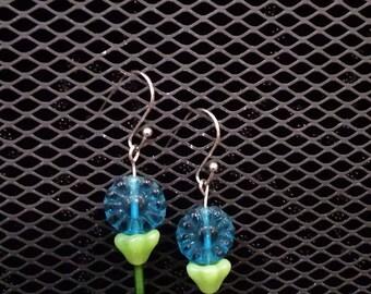 Blue summer flower earrings