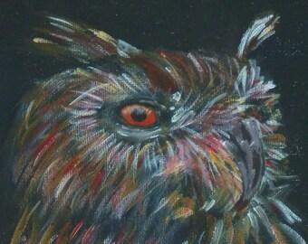 Owl art - wild bird print - wise owl gift - eagle owl art print - owl portrait - living room decor - giclee print