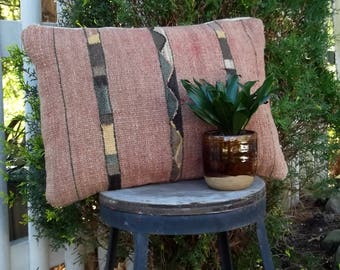 Vintage Woven Wool Pillow Cover/Made in Mexico