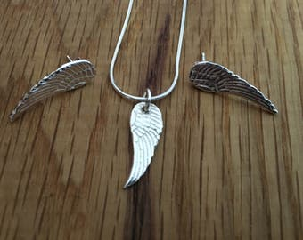 Silver angel wing pendant, angel wing pendant, angel wing necklace, silver angel wing necklace, angel wings, angel wing charm, wing charm